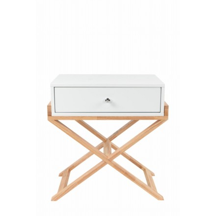Furniture storage night table 1 drawer Scandinavian MAITHE (white, natural)