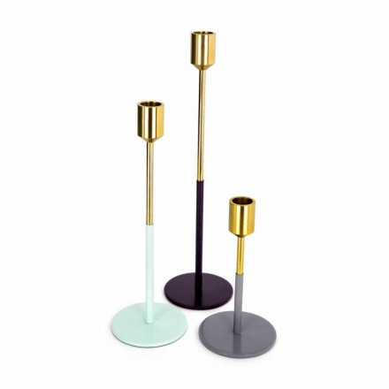 Set of 3 candle holders PARTY (Golden, green, Plum, gray)