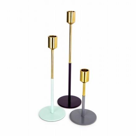 Satz von 3 Kerzenhalter PARTY (Golden, grün, Pflaume, grau)