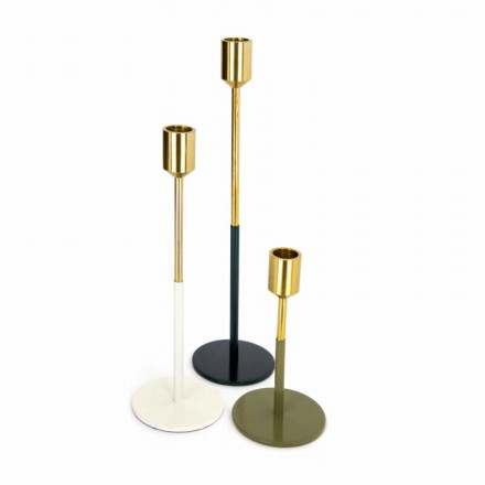 Set of 3 candle holders PARTY (gold, white, green, gray)