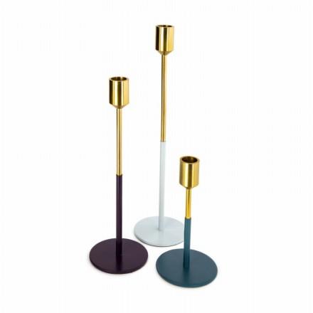Satz von 3 Kerzenhalter PARTY (Golden, Pflaume, grau, blau)