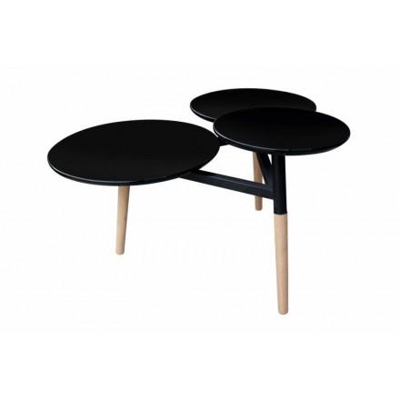 Table basse 3 plateaux MOULINEA en bois (Noir)
