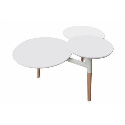Table basse 3 plateaux MOULINEA en bois (Blanc)