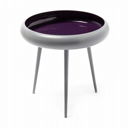 End table, end table FAUSTINA in metal and aluminium (gray, purple)