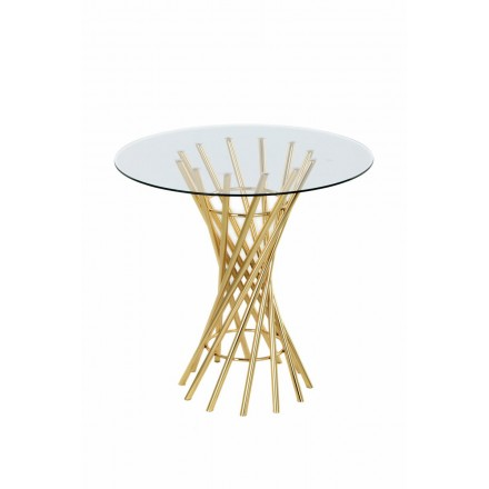 End table, end table ISIDORE in metal and glass (gold)
