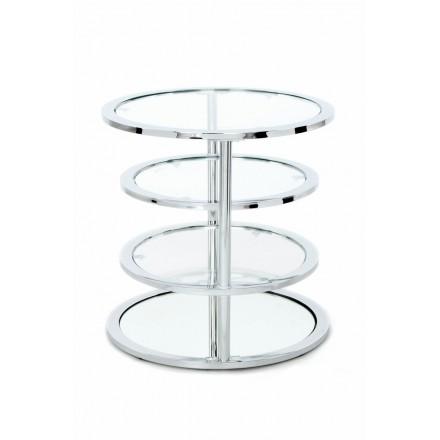 Table d'appoint 4 plateaux, bout de canapé GLADIE en métal et verre (Argent)
