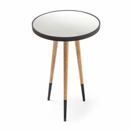 Table d'appoint, bout de canapé ELODIE en MDF, miroir, aluminium (Noir, Naturel)