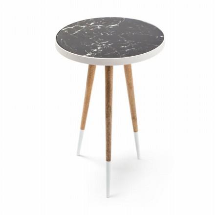 Table d'appoint, bout de canapé ELODIE en MDF, miroir, aluminium (Blanc, Naturel)