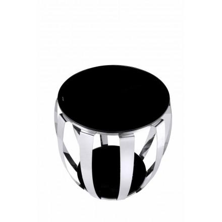 Table d'appoint, bout de canapé SOLANGE en acier inoxydable, verre (Argent, Noir)