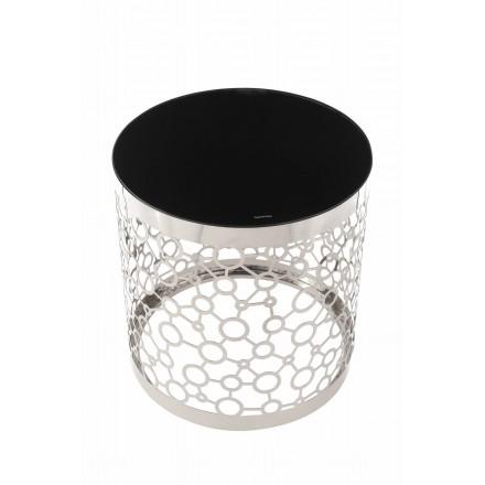 Table d'appoint, bout de canapé IOLANDA en acier inoxydable, verre (Argent, Noir)