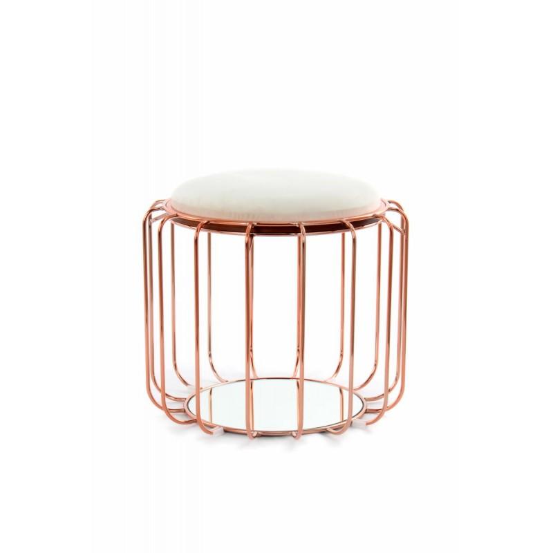 Pouf, table d'appoint FAUVE en velours (Beige, Rosé) - image 42506