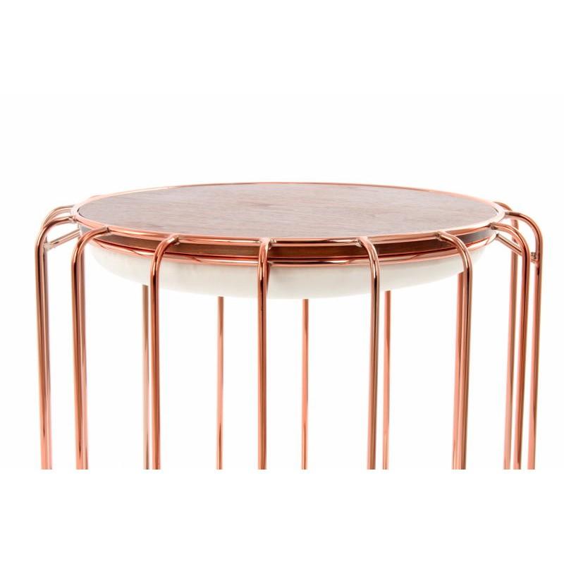 Pouf, table d'appoint FAUVE en velours (Beige, Rosé) - image 42511