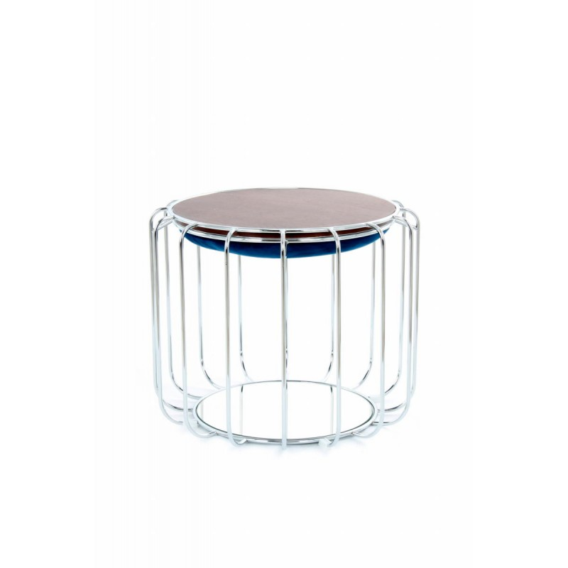 Pouf, table d'appoint FAUVE en velours (Bleu, Argent) - image 42513