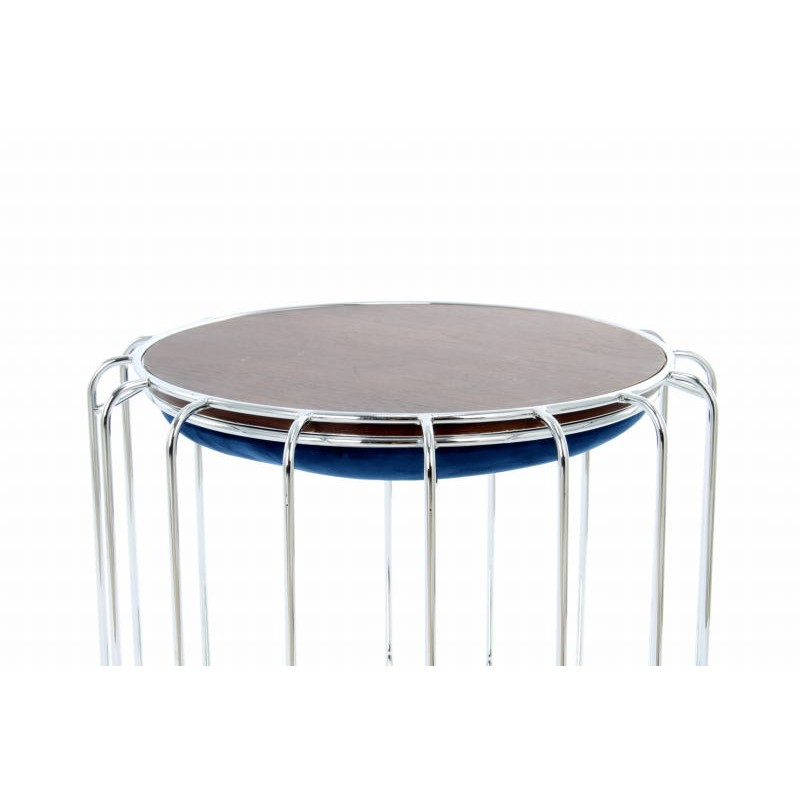 Pouf, table d'appoint FAUVE en velours (Bleu, Argent) - image 42519
