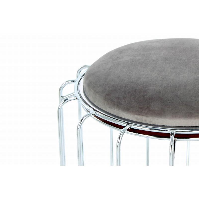 Pouf, table d'appoint FAUVE en velours (Gris, Argent) - image 42552
