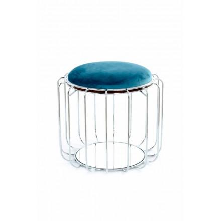 Pouf, tabella velluto TAWNY (blu chiaro, argento)