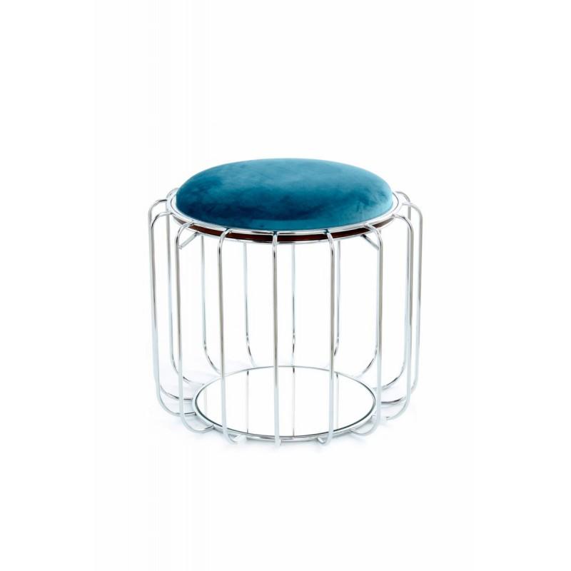 Pouf, table d'appoint FAUVE en velours (Bleu clair, Argent) - image 42570