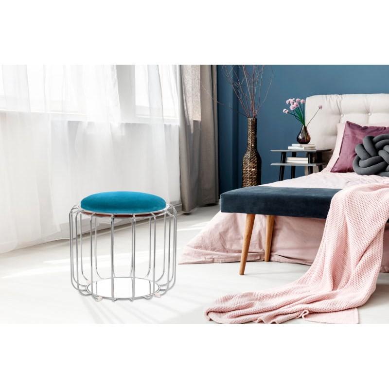 Pouf, table d'appoint FAUVE en velours (Bleu clair, Argent) - image 42572