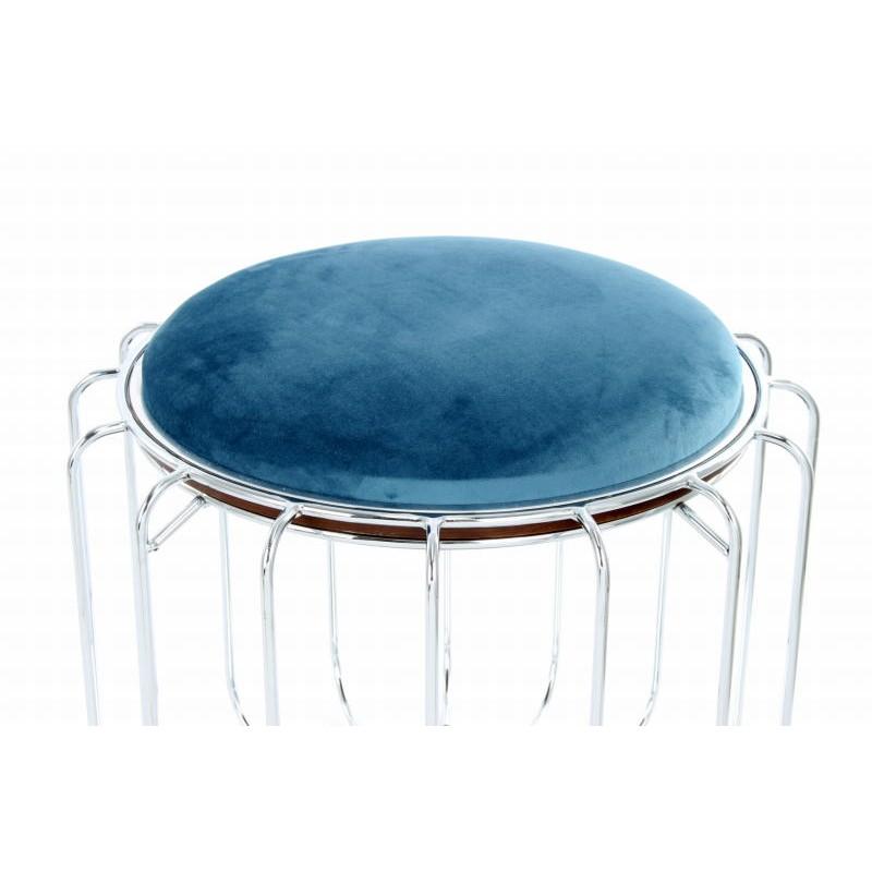 Pouf, table d'appoint FAUVE en velours (Bleu clair, Argent) - image 42574