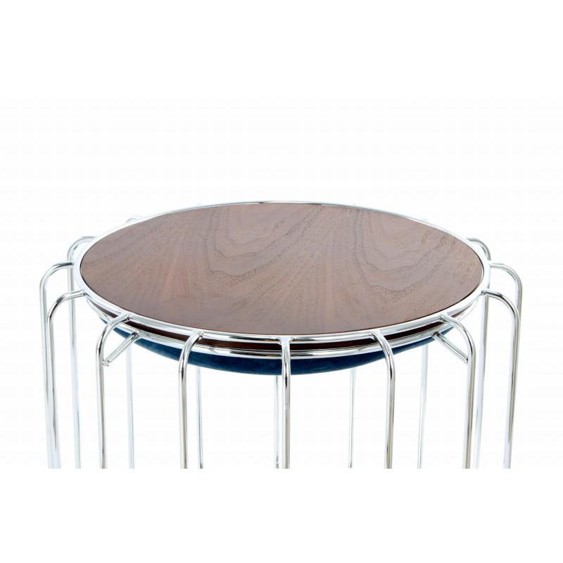 Pouf, table d'appoint FAUVE en velours (Bleu clair, Argent) - image 42575