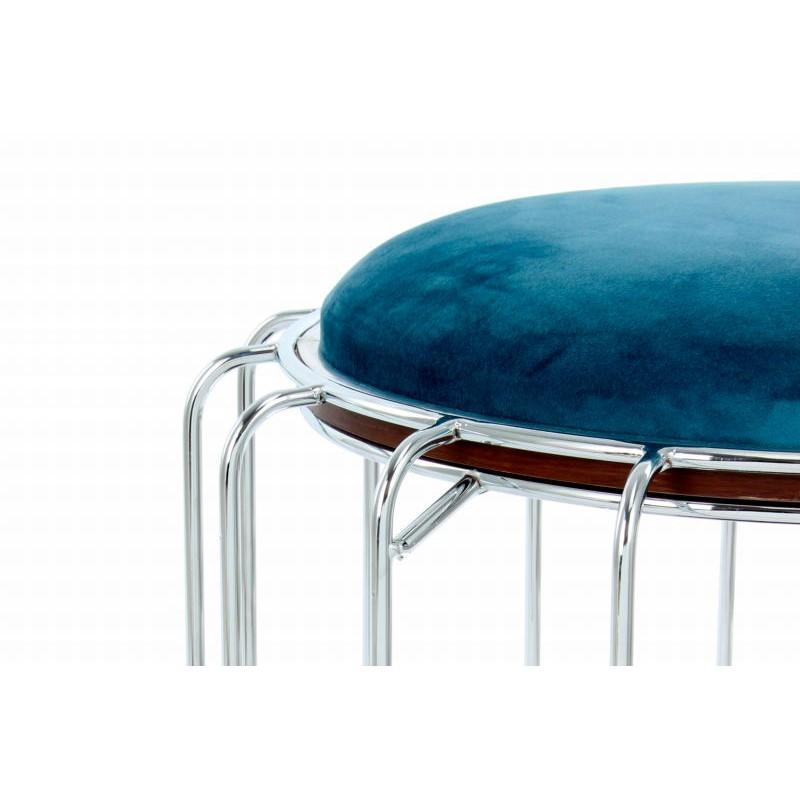 Pouf, table d'appoint FAUVE en velours (Bleu clair, Argent) - image 42576