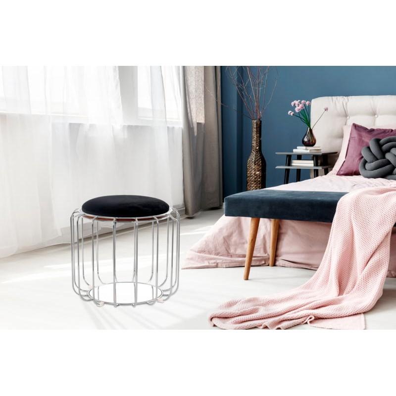 Pouf, table d'appoint FAUVE en velours (Noir, Argent) - image 42580