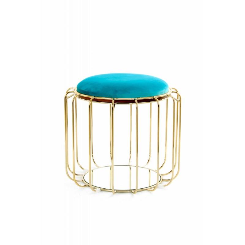 Pouf, table d'appoint FAUVE en velours (Bleu, Doré) - image 42586