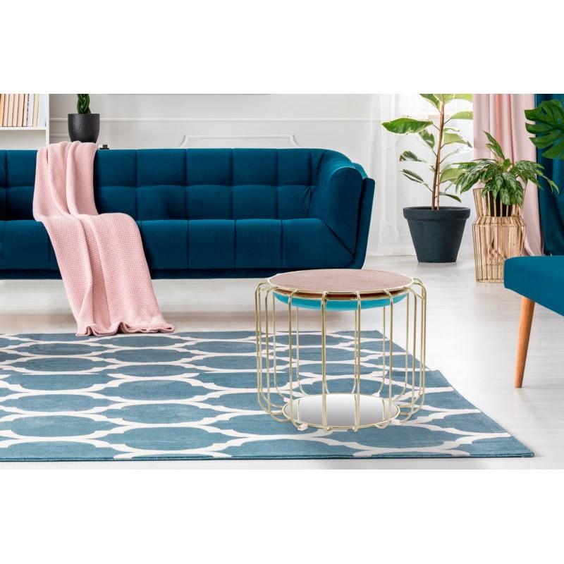 Pouf, table d'appoint FAUVE en velours (Bleu, Doré) - image 42587