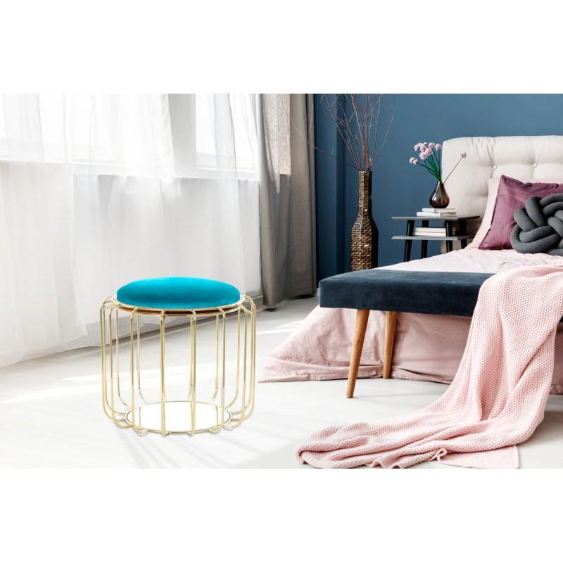 Pouf, table d'appoint FAUVE en velours (Bleu, Doré) - image 42588