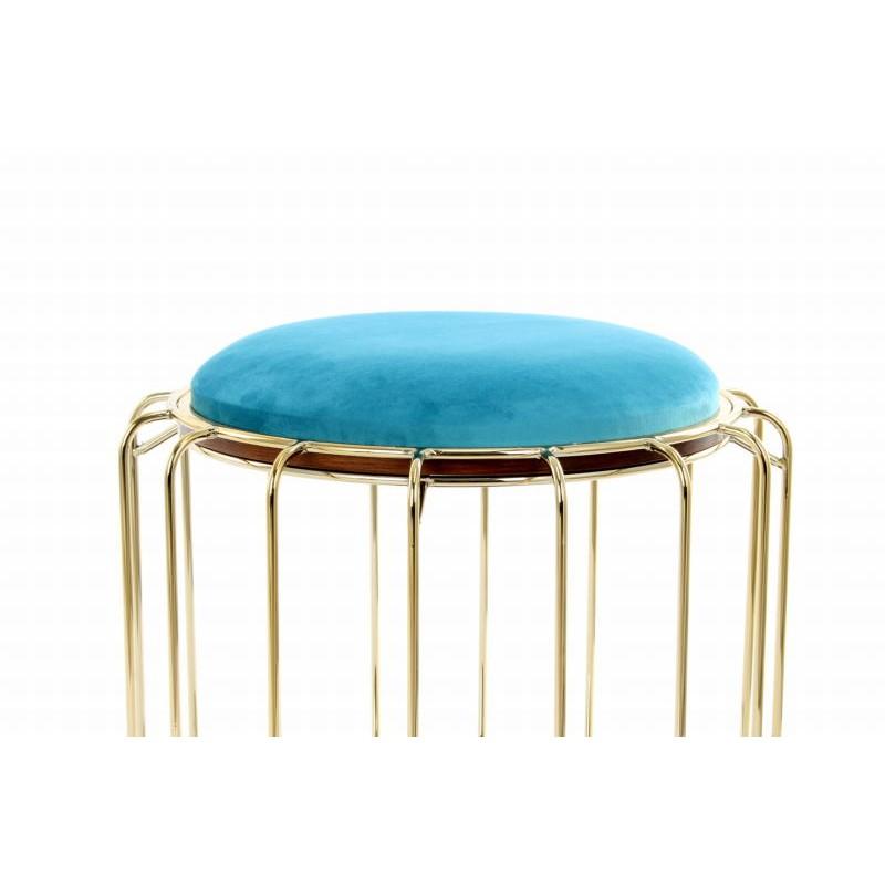 Pouf, table d'appoint FAUVE en velours (Bleu, Doré) - image 42590
