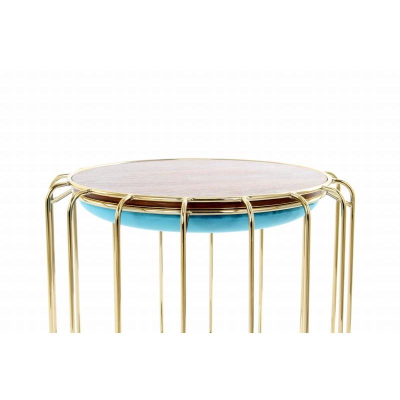 Pouf, table d'appoint FAUVE en velours (Bleu, Doré) - image 42591