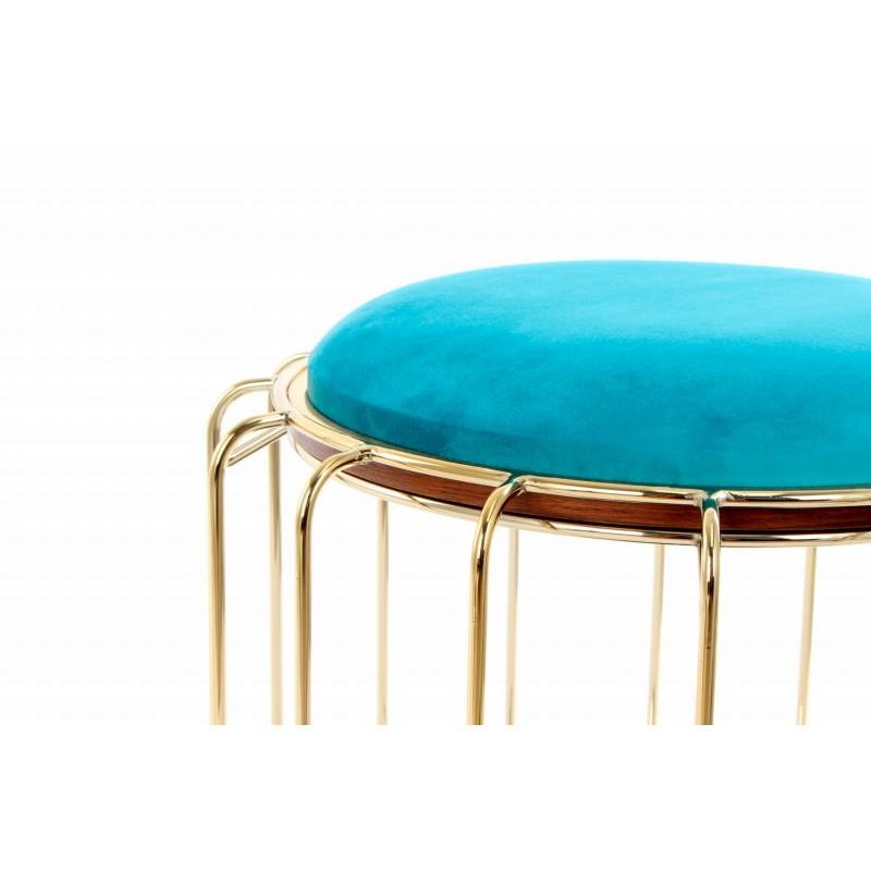 Pouf, table d'appoint FAUVE en velours (Bleu, Doré) - image 42592