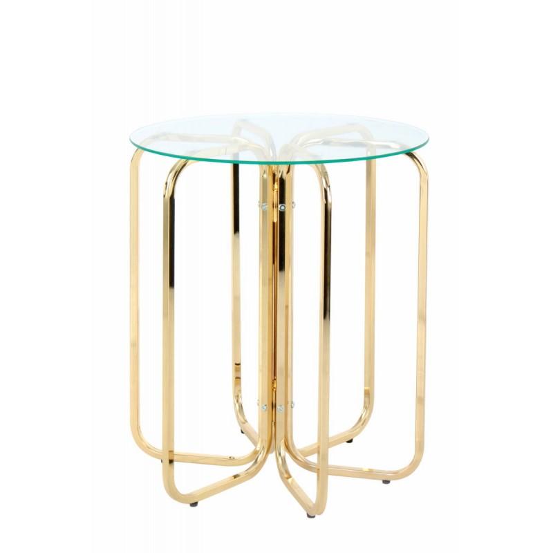 Table d'appoint, bout de canapé GUILIA en métal et verre (Doré) - image 42631