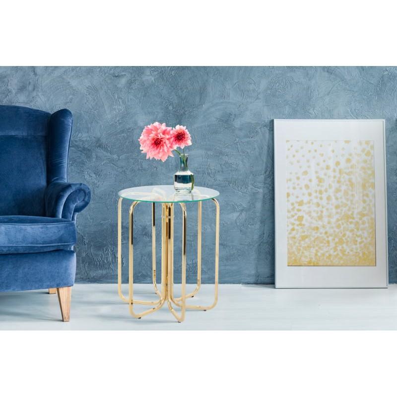 Table d'appoint, bout de canapé GUILIA en métal et verre (Doré) - image 42632