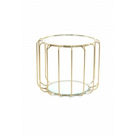 Beistelltisch, Beistelltisch APOLLINE in Metall, Spiegel und Glas (Gold)