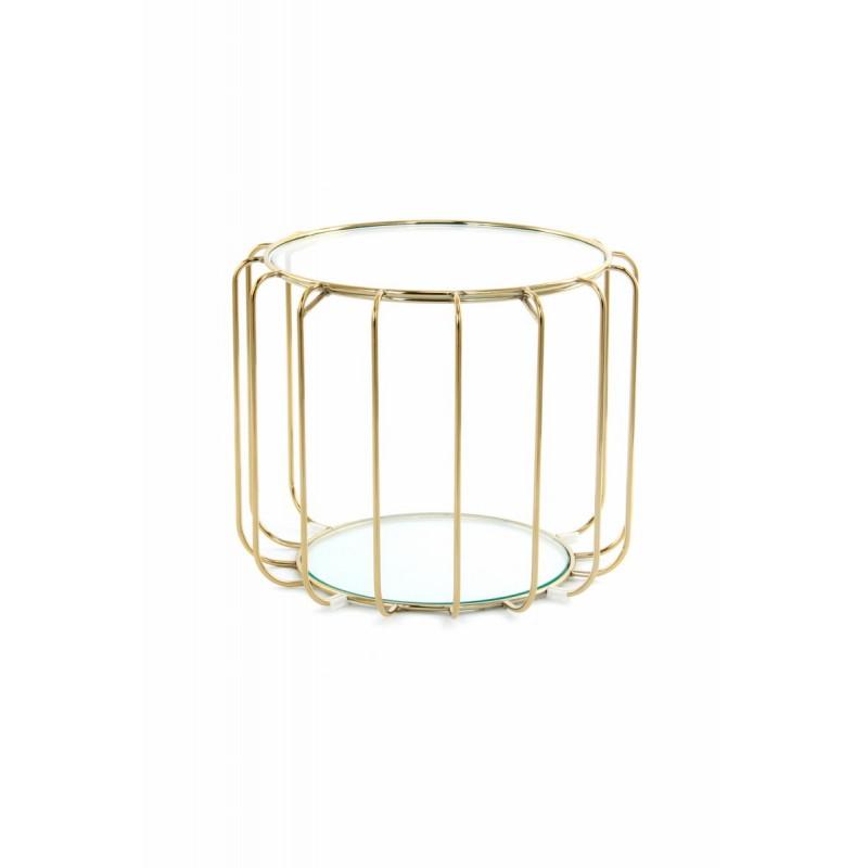Table d'appoint, bout de canapé APOLLINE en métal, miroir et verre (Doré)