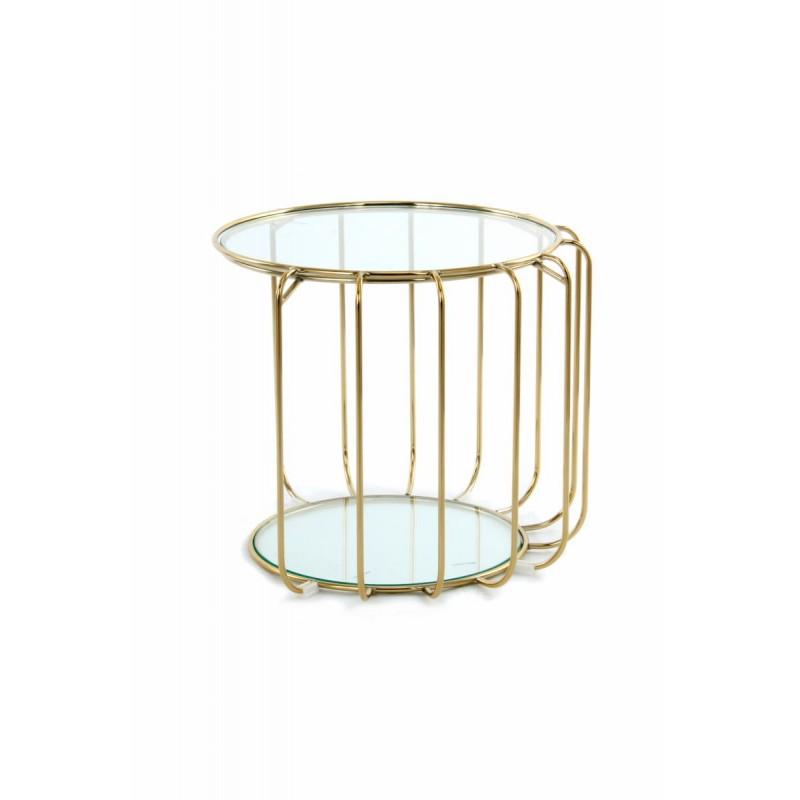 Table d'appoint, bout de canapé APOLLINE en métal, miroir et verre (Doré) - image 42637