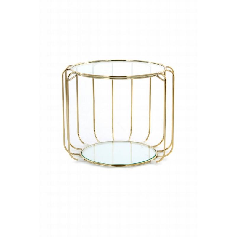 Table d'appoint, bout de canapé APOLLINE en métal, miroir et verre (Doré) - image 42638