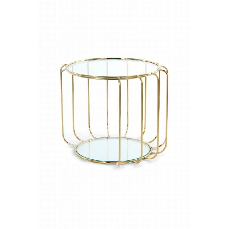 Table d'appoint, bout de canapé APOLLINE en métal, miroir et verre (Doré) - image 42639