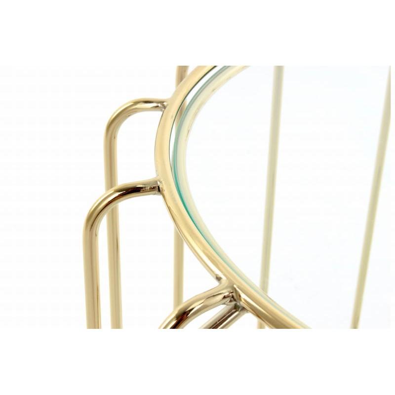 Table d'appoint, bout de canapé APOLLINE en métal, miroir et verre (Doré) - image 42642