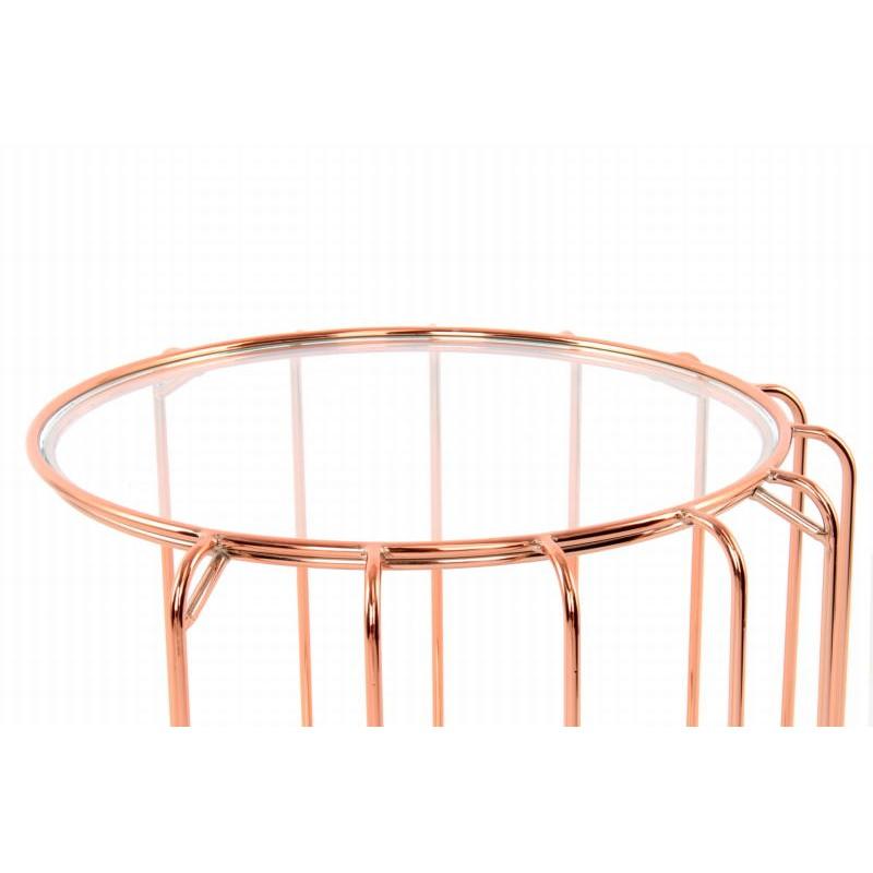Table d'appoint, bout de canapé APOLLINE en métal, miroir et verre (Rosé) - image 42648