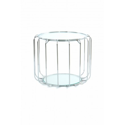 End table, end table APOLLINE in metal, mirror and glass (Silver)
