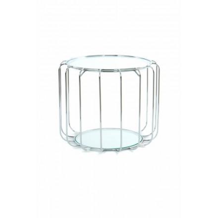 Table d'appoint, bout de canapé APOLLINE en métal, miroir et verre (Argent)