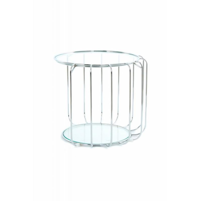 Table d'appoint, bout de canapé APOLLINE en métal, miroir et verre (Argent) - image 42651
