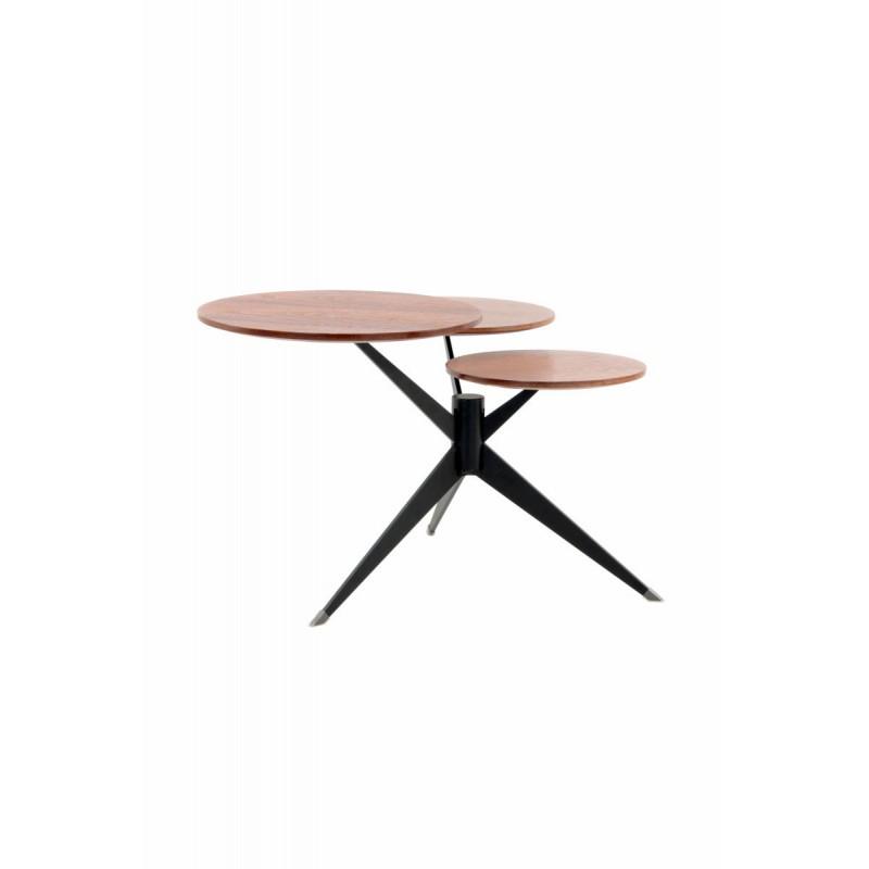 Table d'appoint 3 plateaux, bout de canapé MARION en métal et bois MDF (Marron, Noir) - image 42671
