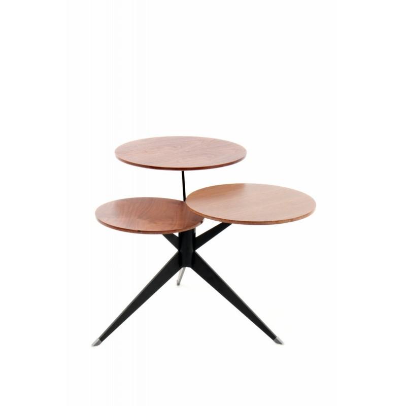 Table d'appoint 3 plateaux, bout de canapé MARION en métal et bois MDF (Marron, Noir) - image 42673