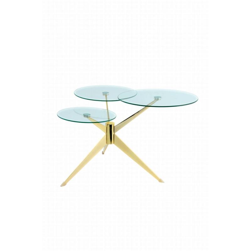 Tabelle 3 Tabletts, Ende des MARION Sofa aus Metall und glas (Transparent, Gold) - image 42677