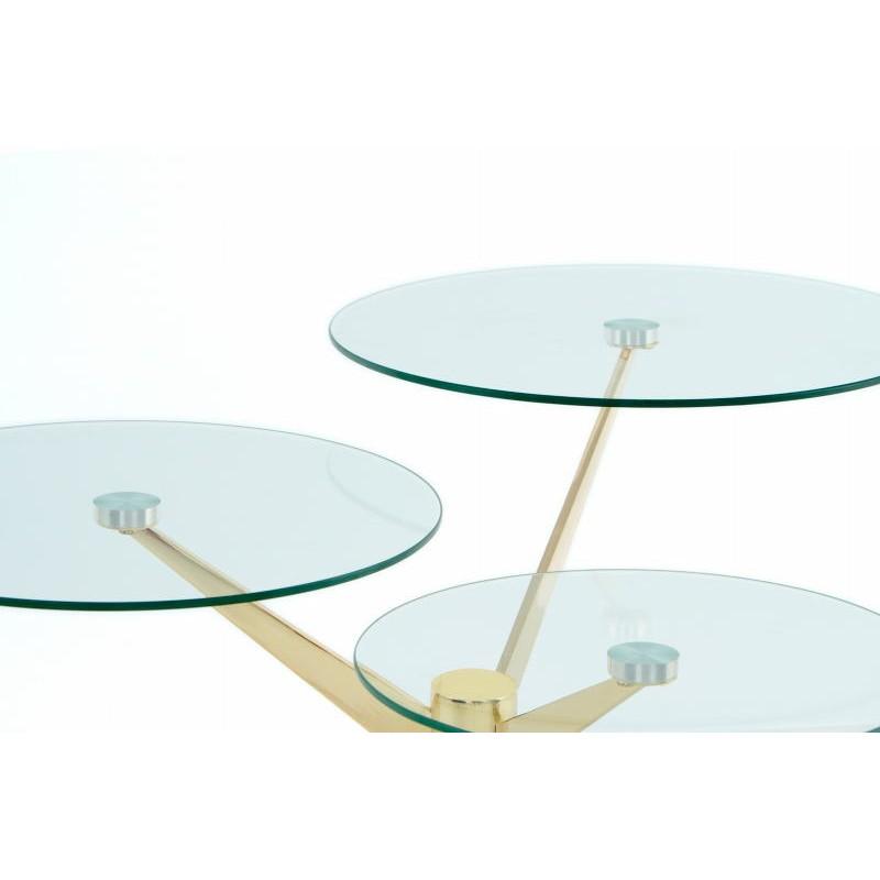Tabelle 3 Tabletts, Ende des MARION Sofa aus Metall und glas (Transparent, Gold) - image 42681