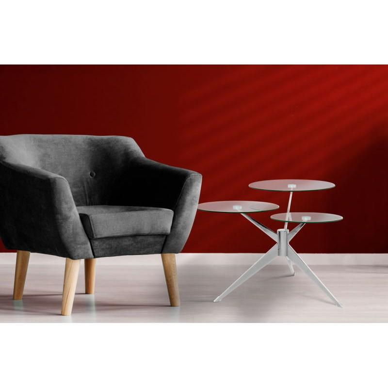 Tabella 3 vassoi, fine del divano di MARION in metallo e vetro (trasparenti, soldi) - image 42694