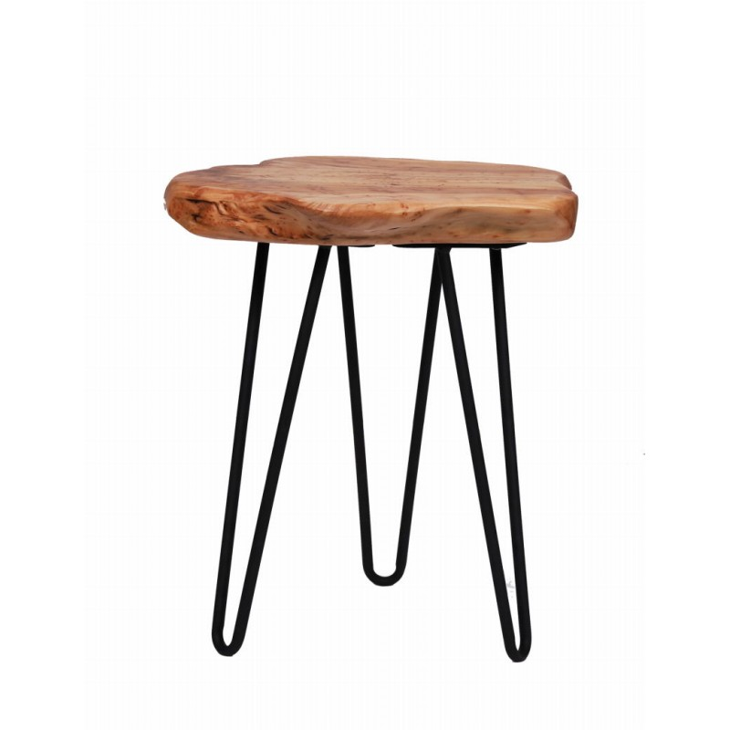 End table, end table ELISE metal and cedar wood (natural)
